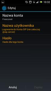 Obraz przedstawiający ekran aplikacji z ustawieniami nazwy konta, nazwy użytkownika i hasła