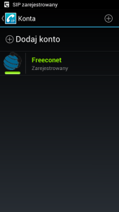 Obraz przedstawiający ekran aplikacji z podświetloną na zielono nazwą konta