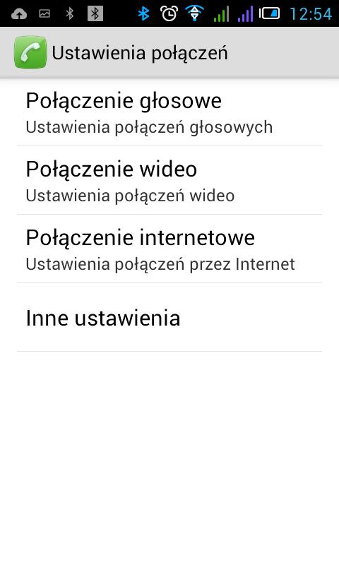 Ekran konfiguracji połączeń internetowych Android