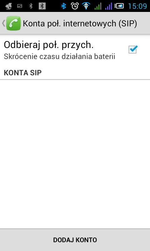Android Konta połączeń internetowych (SIP)