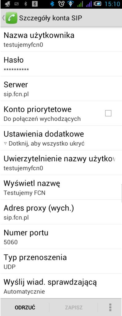 Android Szczegóły konta SIP