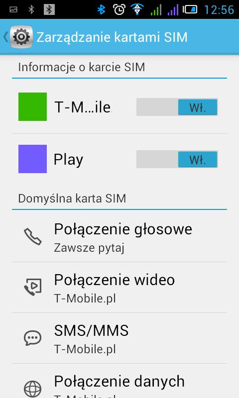 Android ekran zarządzania kartami SIM