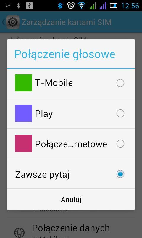Android ekran wyboru połączenia głosowego (operator)