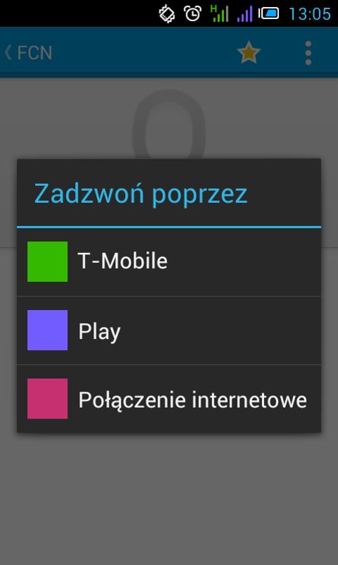 Android ekran wywoływania z opcją wyboru operatora