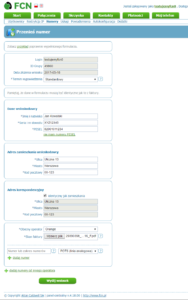 Obraz z panelu konfiguracyjnego - przykład poprawnie wypełnionego formularza dla użytkowników domowych (przeniesienie numeru)