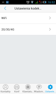 Obraz przedstawiający ekran ustawień kodeków audio w aplikacji. Dostępne są opcje WiFi i 2G/3G/4G.