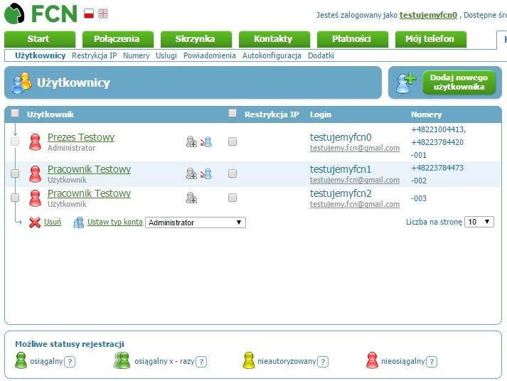 Lista użytkowników w panelu administracyjnym FCN