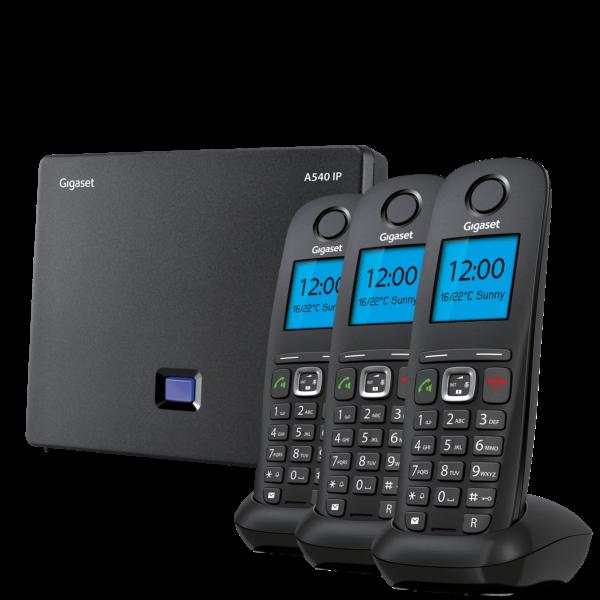 Gigaset 540IP zestaw stacja DECT i trzy bezprzewodowe słuchawki telefon VoIP