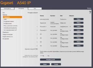 Obraz przedstawiający ekran konfiguracji kont VoIP Gigaset A540IP