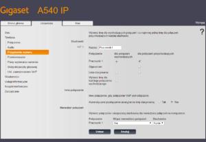 Obraz przedstawiający ekran przypisywania numeru i konta do słuchawki Gigaset A540IP