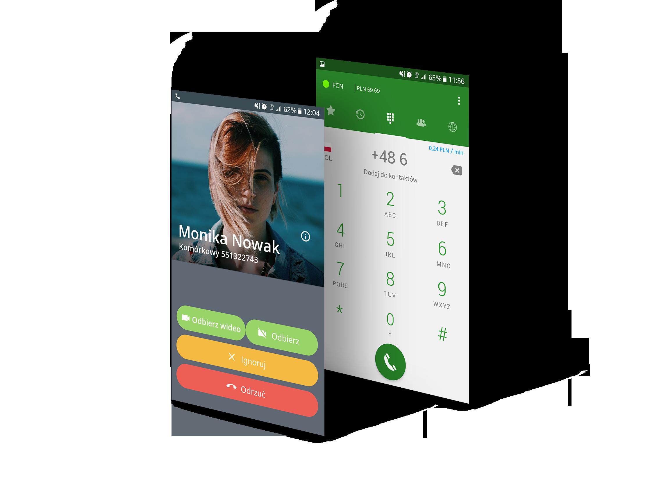Ekrany aplikacji Telefon FCN - ekran odbioru połączenia i klawiatury z saldem i ceną minuty rozmowy