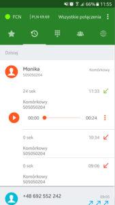 Ekran aplikacji Telefon FCN: historia rozmów z opcją odtwarzania nagranych