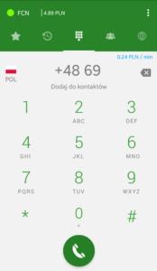 Ekran aplikacji Telefon FCN: klawiatura z saldem i informacją o cenie minuty rozmowy
