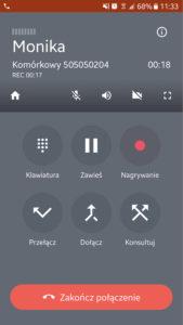 Ekran aplikacji Telefon FCN: po odebraniu rozmowy