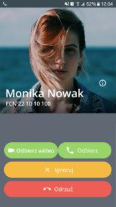 Ekran aplikacji Telefon FCN: odbieranie wewnątrz sieci FCN z wideo