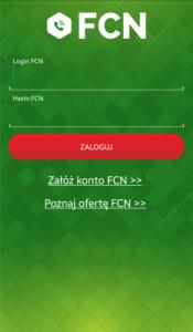 Ekran aplikacji Telefon FCN: ekran logowania i rejestracji