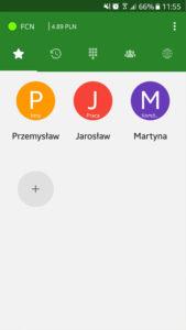 Ekran aplikacji Telefon FCN: ulubione kontakty