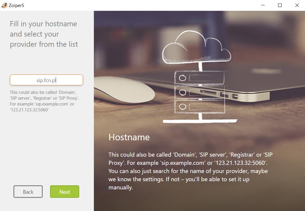 Konfiguracja: wprowadzanie nazwy serwera sip.fcn.pl