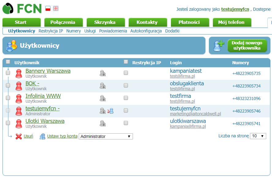 Ekran numerów w panelu FCN: lista pokazuje przypisanie użytkowników kampaniom i działom