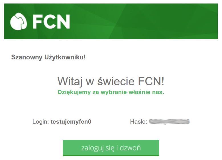 Wiadomość e-mail generowana przez FCN po założeniu konta